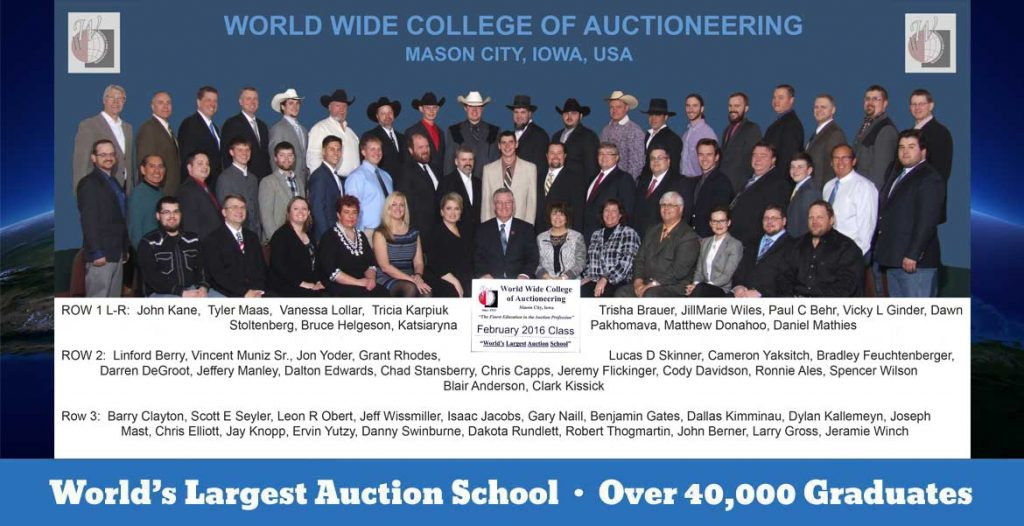 World Wide College of Auctioneering February 2016 Class Photo